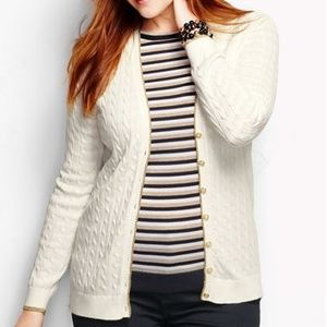 Lands End Tipped V-neck Cable Cardigan Ivory
